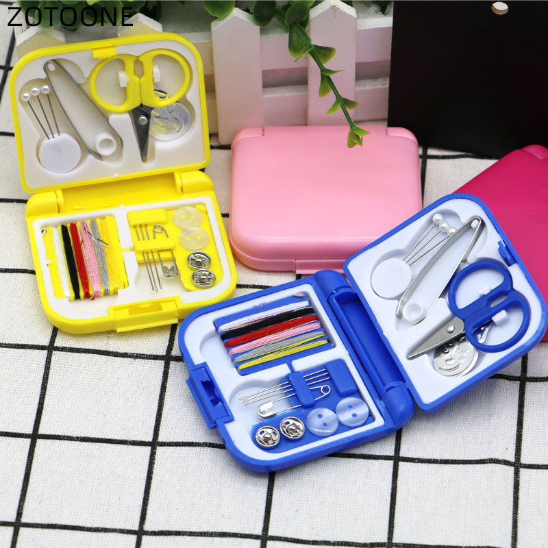 ZOTONNE Portable Travel Sewing Set Kits Storage Box Needle Threads Scissor Thimble Buttons Pins Diy Home Sewing Accessories G