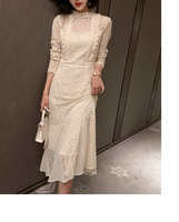 Summer Women Dress 2019 Elegant Lace Patchwork Hollow out Formal Party Dress Bodycon Office Lady Work Dress