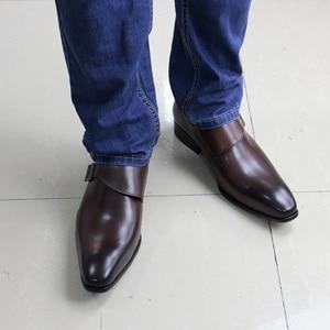 Image 3 - גודל 13 מותג מעצב גברים שמלת נעלי 2020 עור אמיתי אבזם נזיר רצועת גברים של חום שחור משרד המפלגה פורמליות mens נעליים