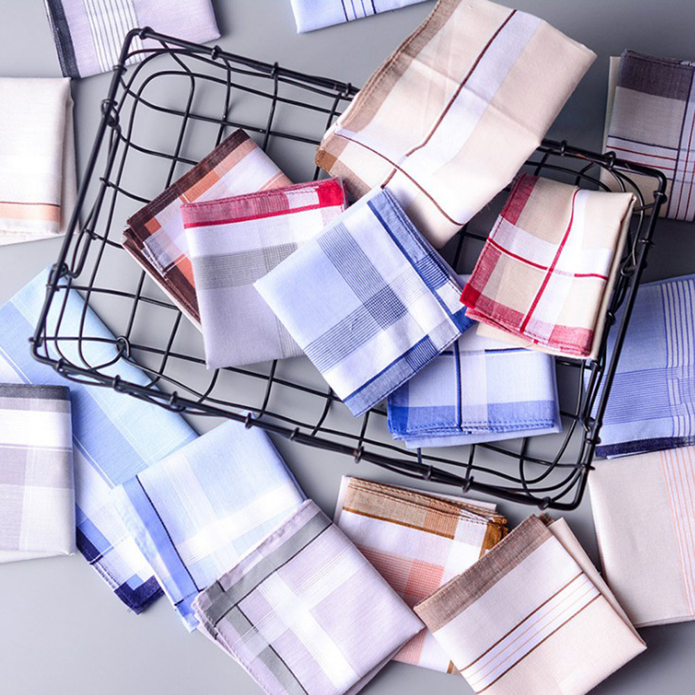 5Pcs/lot Square Plaid Stripe Handkerchiefs Men Classic Vintage Pocket Hanky Pocket Cotton Towel For Wedding Party 38*38cm Random
