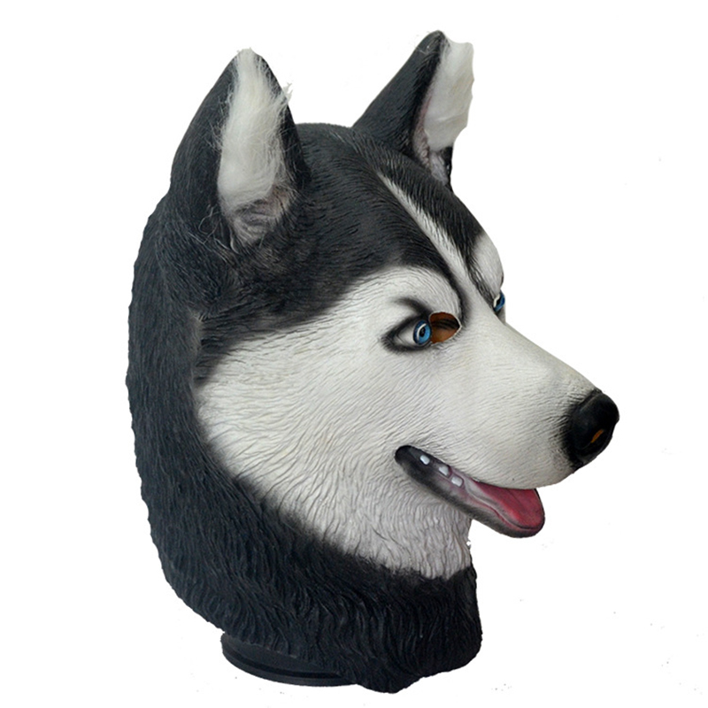 Halloween Trick Party Simulation Animal Husky Latex Mask Dog Head Environmental Protection Material Halloween Party Props 2