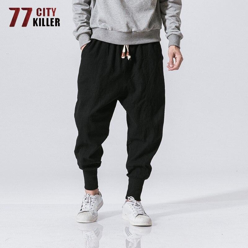 77City Killer Harem Pants Men Harajuku Casual Cotton Linen Trouser Male Streetwear Breathable Sweatpants Joggers Plus Size M-5XL