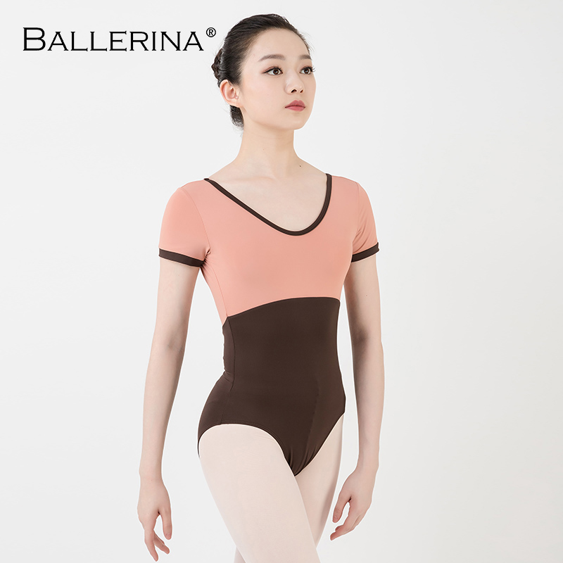 Women Dance Costume Short Sleeve Ballet Practice Ballet Leotard Gymnastics Two-color Stitching Leotard Ballerina 3555