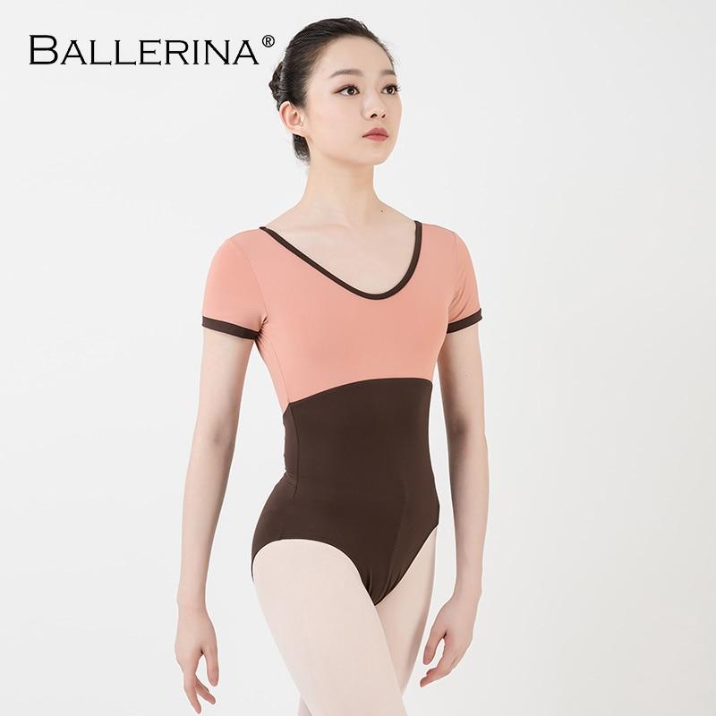 Women Dance Costume Short Sleeve Ballet Practice Ballet Leotard Gymnastics Two-color Stitching Leotard Ballerina 3555
