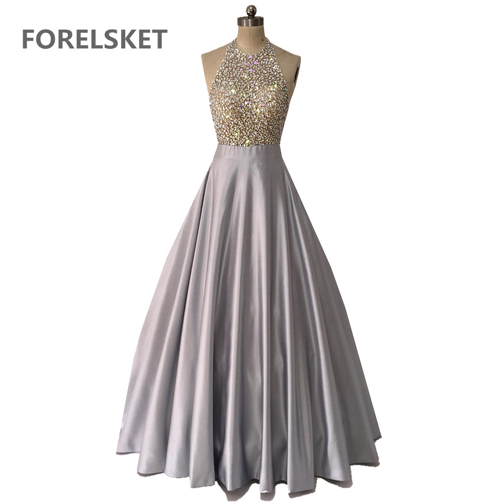 Sequined Halter Gray Satin   Prom     Dresses   Backless 2020 Saudi Arabia Crystal Beading Formal Long Evening Party Gown Largos De Gala