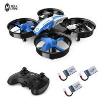 Mini Dron de Holy Stone para niños, con tapa 3D, helicóptero teledirigido, Mini Drones pequeños con 3 baterías