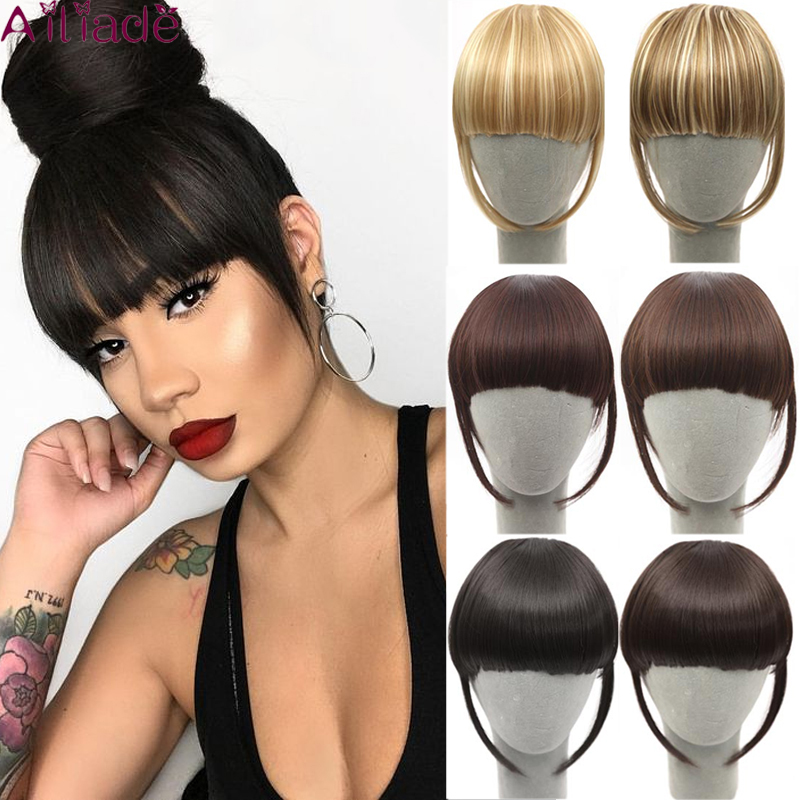 AILIADE Remy Clip In Fringe Hair Extension Natural Black Brown Gold Multiple Colors And Styles For Women Hair Accessories