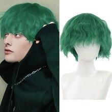 Парик AILIADE мужской синтетический, модные короткие термостойкие волосы темно-зеленого цвета для повседневного использования, для косплея и ...