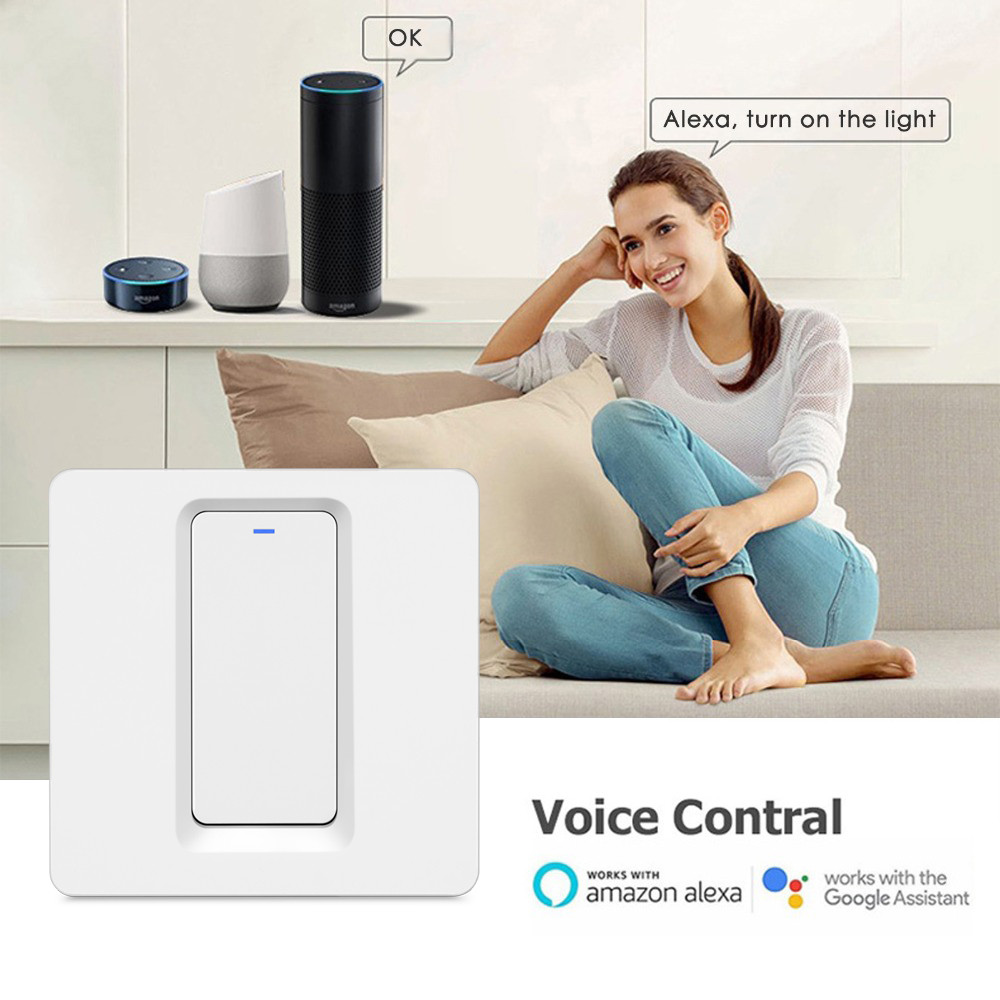 Купить с кэшбэком Tuya Smart ZigBee 1 Gang Switch Without Neutral Wire Touch Light Switch  Support Google Home Amazon Alexa Echo IFTTT