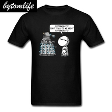 Marvin Meets Dalek T-shirt Men Doctor Who T Shirt Exterminate Pessimist Robot Tshirt Hipster Summer Yellow Tops Funny Tees