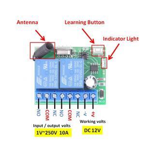 Image 3 - 433Mhz Universele Draadloze Afstandsbediening DC12V 2200W 2CH Rf Relais Ontvanger Voor Universele Garage En Deuropener Controller