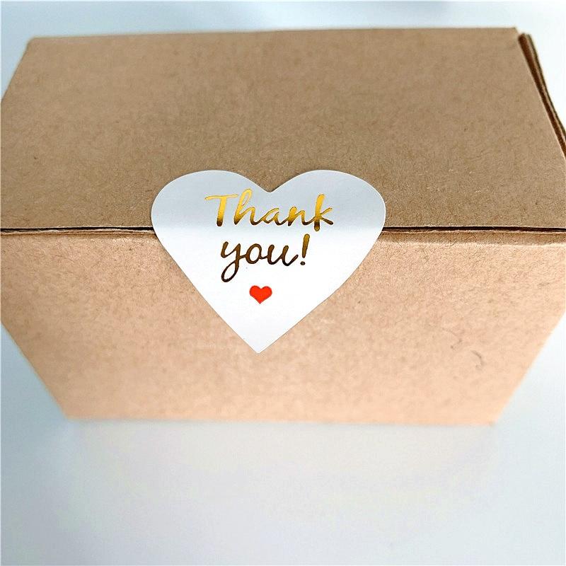 100 шт./лот, бумажные наклейки с милым сердцем, золотые наклейки для скрапбукинга, печатные этикетки для подарка