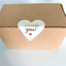 100 Pcs/lot Lovely Heart design Paper Stickers Golden Thank You Scrapbooking Sticker Seals Labels For Gift