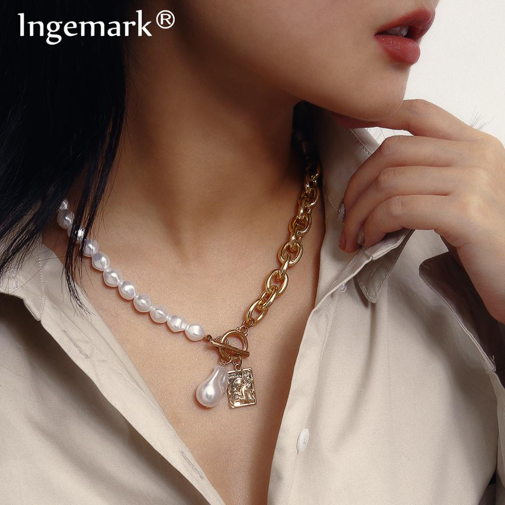 Gothic Baroque Pearl Angel Pendant Choker Necklace for Women Wedding Punk Lasso Big Chunky Thick Lock Chain Necklace Jewelry(China)