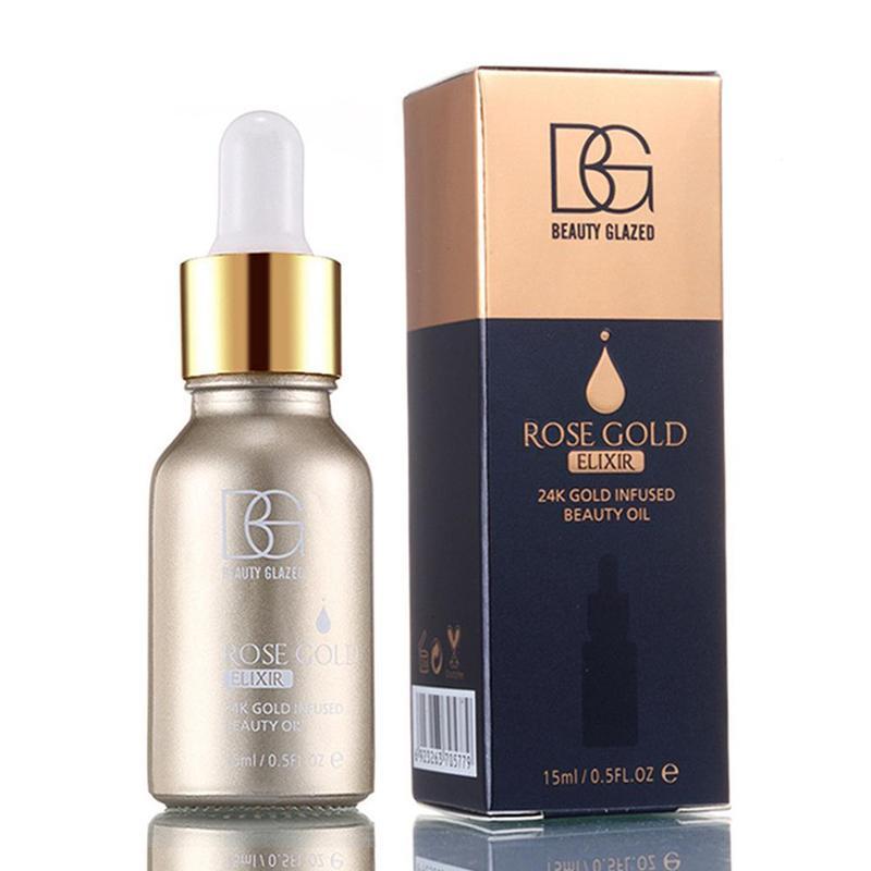 Belleza glaseado maquillaje cara cartilla 24k oro rosa base facial labios crema hidratante base aceite 15ml