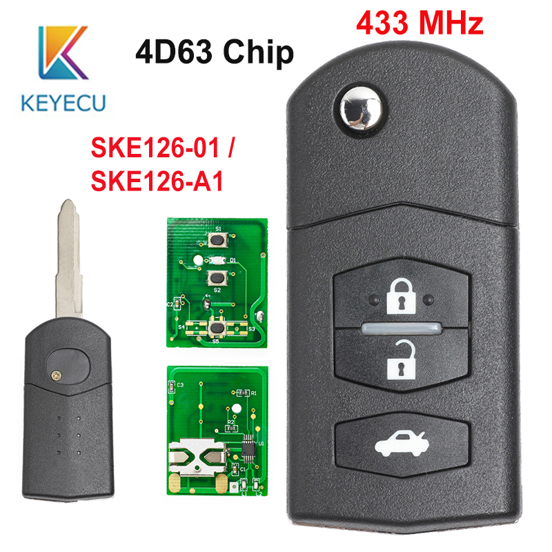 KEYECU 2 1 3 Buttons Repacement Remote Car Key Fob 433MHz 4D63 Chip SKE126-01 SKE126-A1 for Mazda 2 3 5 6 MX5 RX8 2007 2008 2009 image