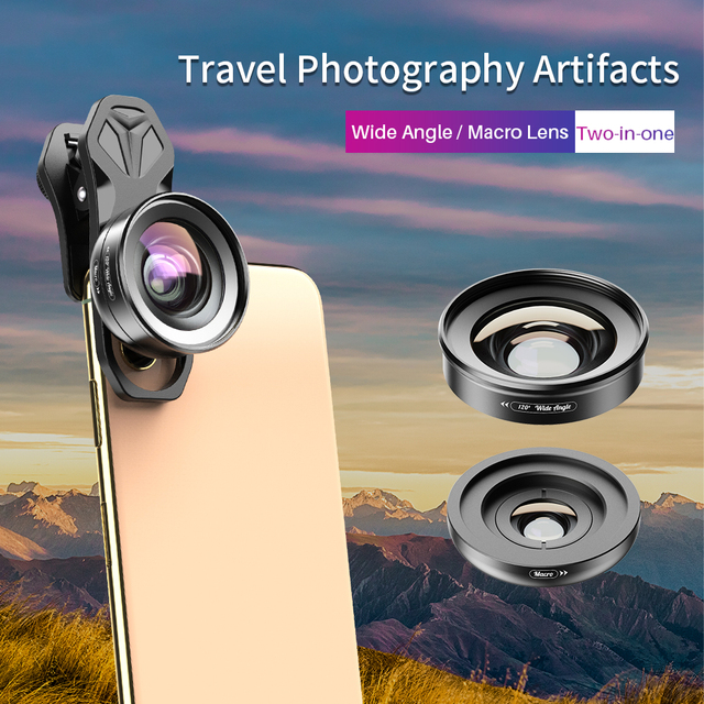 APEXEL 2in1 HD كاميرا طقم عدسات الهاتف 120 درجة 4K عدسة واسعة الزاوية + 10X عدسة ماكرو آيفون 11 سامسونج شاومي جميع الهواتف الذكية
