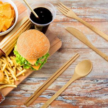 7PCS Set Wooden Flatware Cutlery Set Bamboo Straw Dinnerware Set With Cloth Bag Knives Fork Spoon Chopsticks Travel Kitchen 4