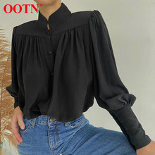 Black Blouse Top Puff-Sleeve Ladies Shirt OOTN Office-Work Ruched White Turtleneck Spring