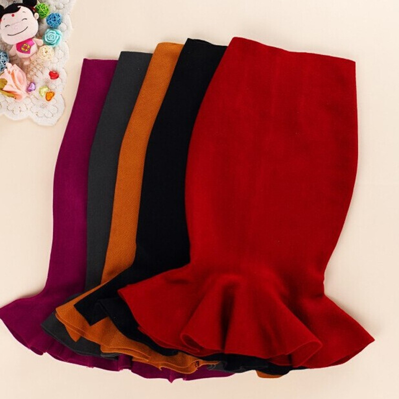 Knitted Mermaid Office Lady Women's Midi Skirt Black High Waist Solid Ruffle Party Womens Skirts 2019 Autumn Bottoms Female