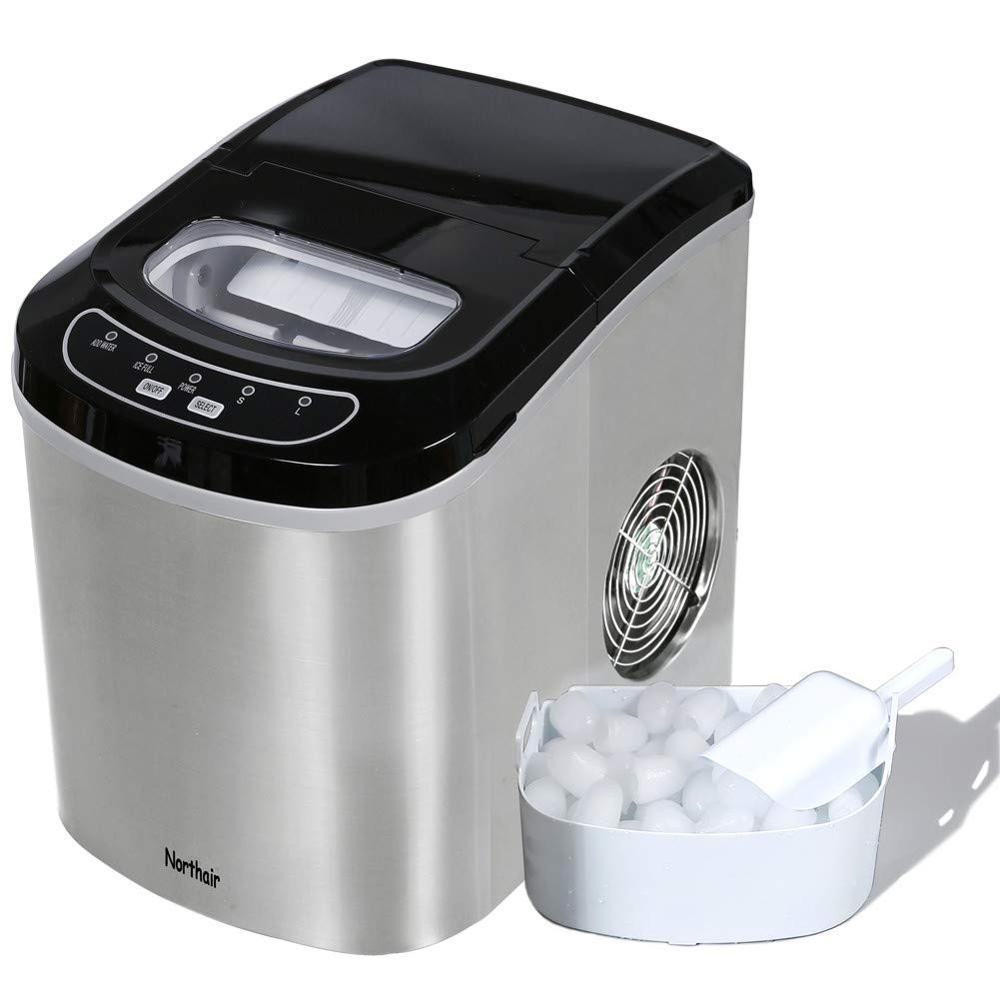 HZB-12 Portable Home Juicer Bar Ice Maker Machine Ice Bullet  Machine Counter Top With 26lbs Daily Capacity Stainless Steel