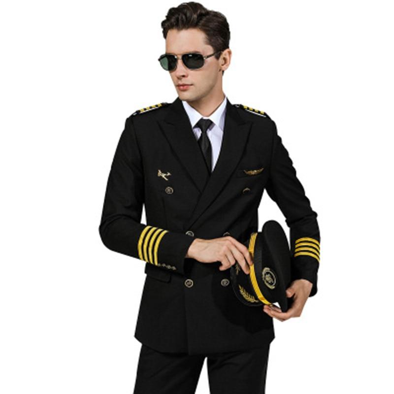 Air Captain Uniform Male Pilot Airline Uniform Coat Professional Suits Jackets Coat Aviation Property Workwear Flight Clothing