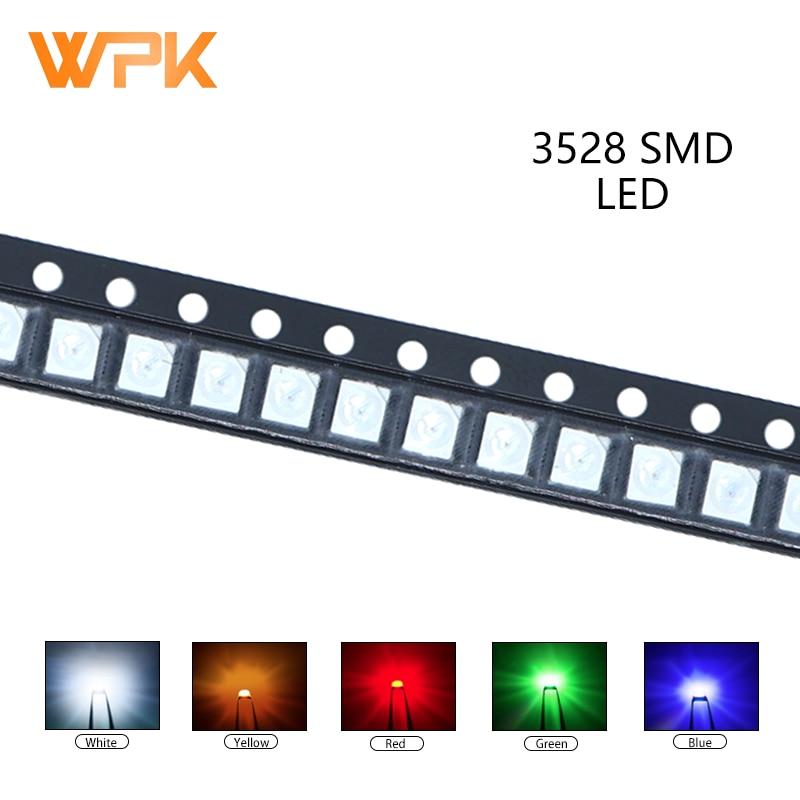 100 шт. 3528 SMD LED красный желтый и зеленый цвета белого и синего цвета оранжевый UV светильник светодиод PCB DIY Набор сортированных