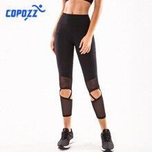 COPOZZ Women High Waist Yoga Pants Hollow design Leggings Sport Women