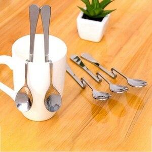 5 шт., подвесная кофейная ложка из нержавеющей стали, Витая Ложка для сахара, чайная ложка, ложка для мороженого, десертная ложка, кофейная ло...