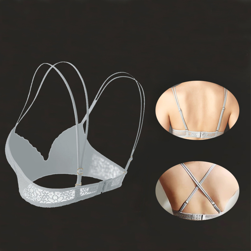 Womens Push Up Bra Sexy Triangle Brassiere Wire Free Lace Bra Bralette Lingerie Small Breast Adjusts Female Underwear A B C Cup