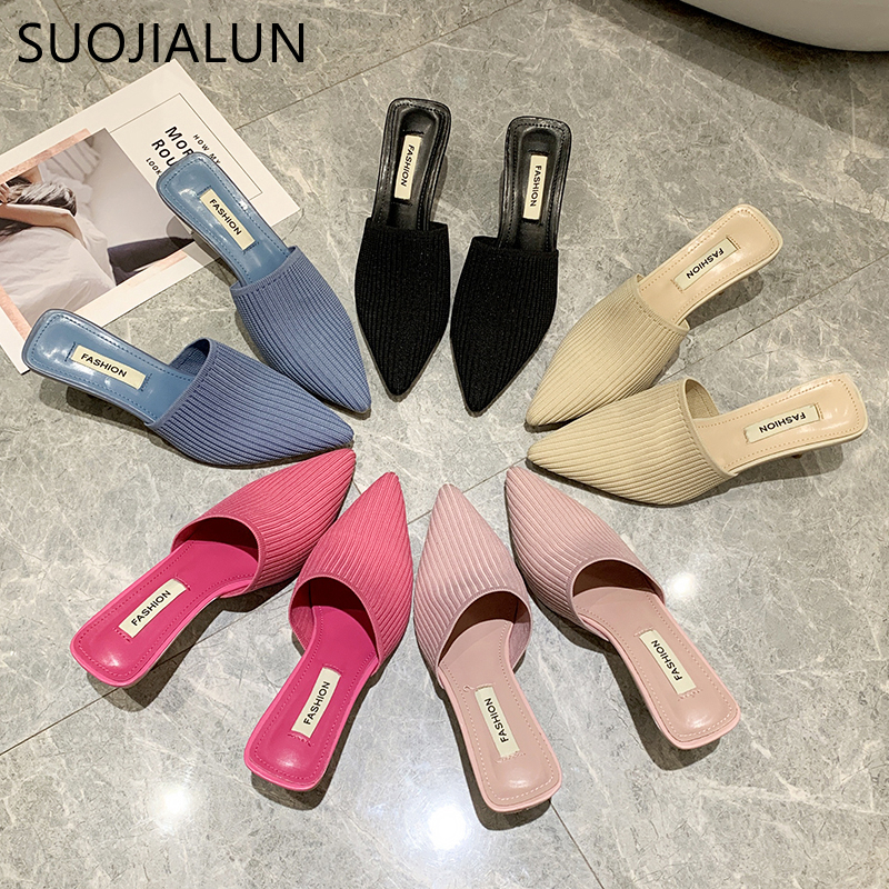 SUOJIALUN 2020 New Elegant Women Mules Sandal Slip On Pointed Toe Knitting Slides Thin Heel Closed Toe Slipper Dress Sheos