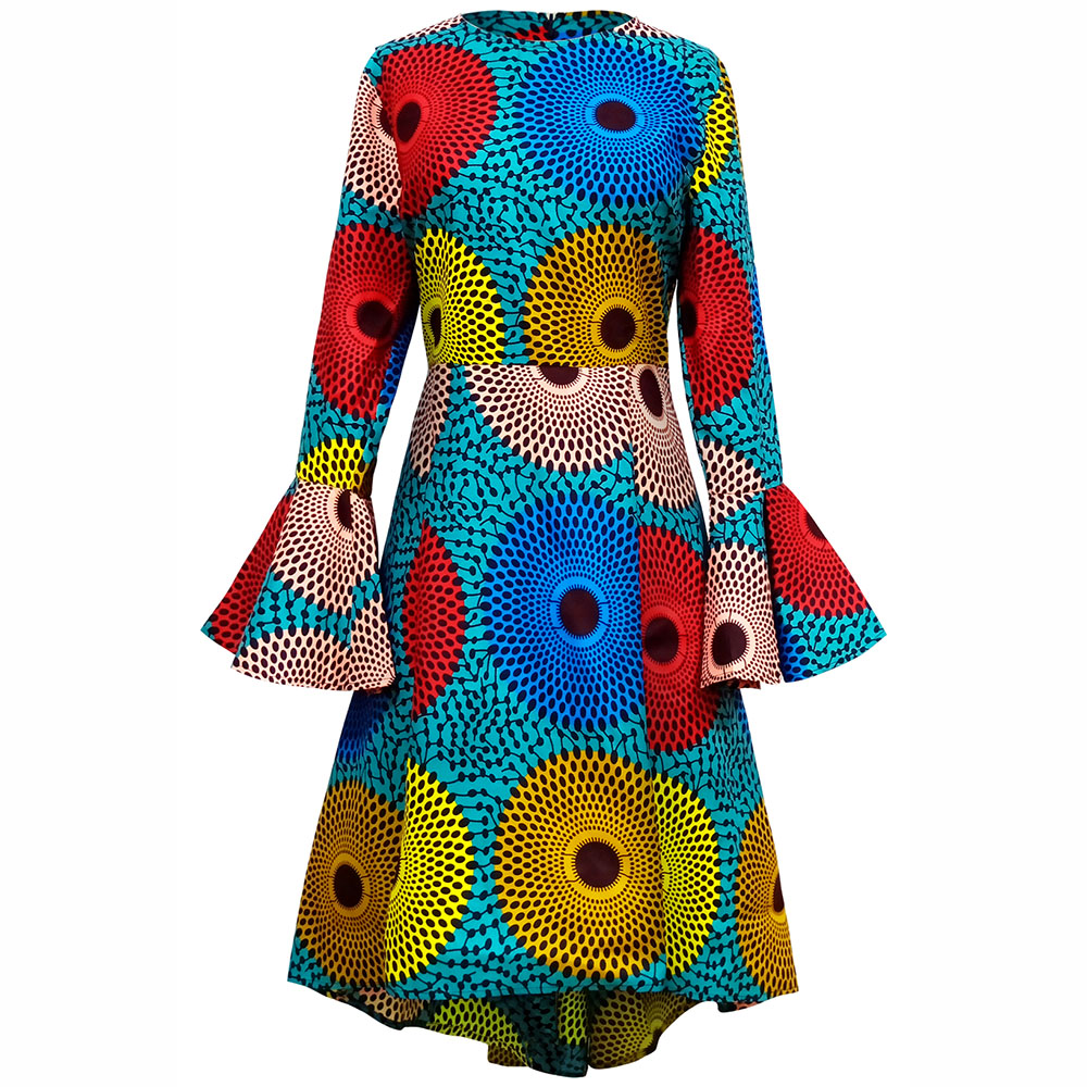 African Dresses For Women Long Sleeves Dress Autumn Winter Clothes Wax Print Dress African Traditional Clothes Ankara Dresses
