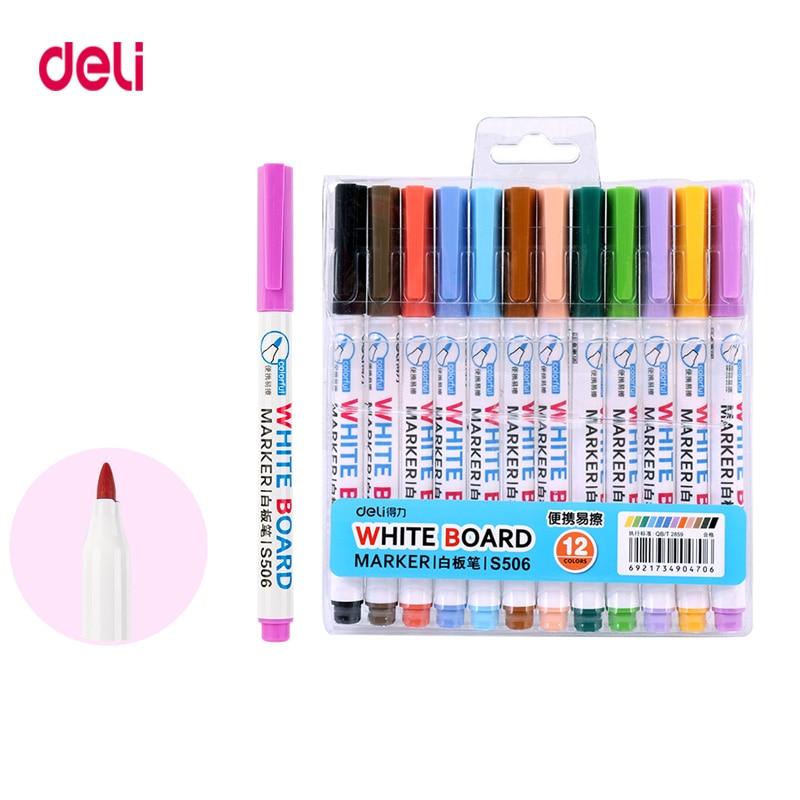 Deli 12colors White Board Marker School Classroom Supplies Dry White Board Markers  Student Children's Write Drawing Pen