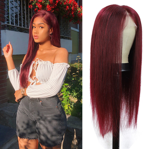 99J бордовый Синтетические волосы на кружеве парики из натуральных волос на кружевной основе бразильские предварительно 13x4 Синтетические в...
