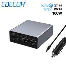 Edecoa 100w 12 24v carregador de carro 65w tipo-c usb qc 3.0 carregamento rápido adaptador do portátil para o telefone móvel huawei xiaom iphone samsung