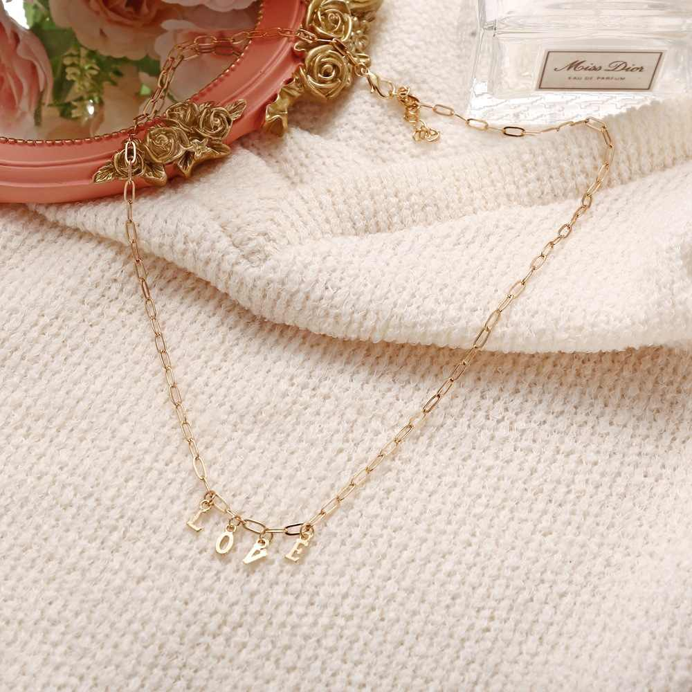 Palabra amor cadena collar con perlas colgantes múltiples colores