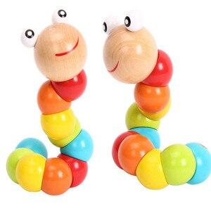 food grade wood montessori sensorial Wooden colour Caterpillars Toys for Baby Kids montessori materials(China)