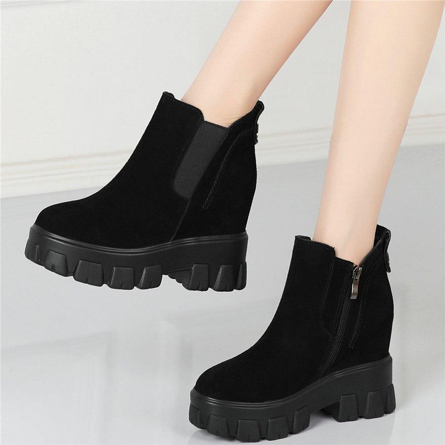 Купить женские туфли на платформе и высоком каблуке черные повседневные
