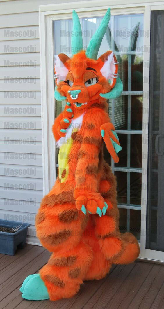 New Long Fur Orange Dragon Completed Fursuit Mascot Furry Costume Suits Party A Ebay