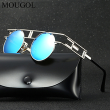 MOUGOL round punk polarized sunglasses personality color film large frame face trend glasses mens and womens goggle