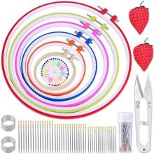 LMDZ 6 Pcs Embroidery Hoop Sets Needlework Kits Cross Stitch