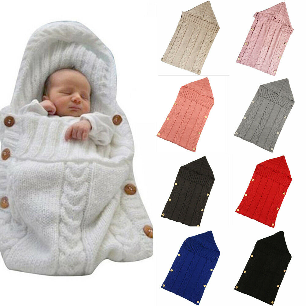 Pudcoco Newborn Baby Swaddling Stroller Wrap Winter Warm Blanket Knit Button Crochet Winter Warm Swaddle Wrap Sleeping Bags