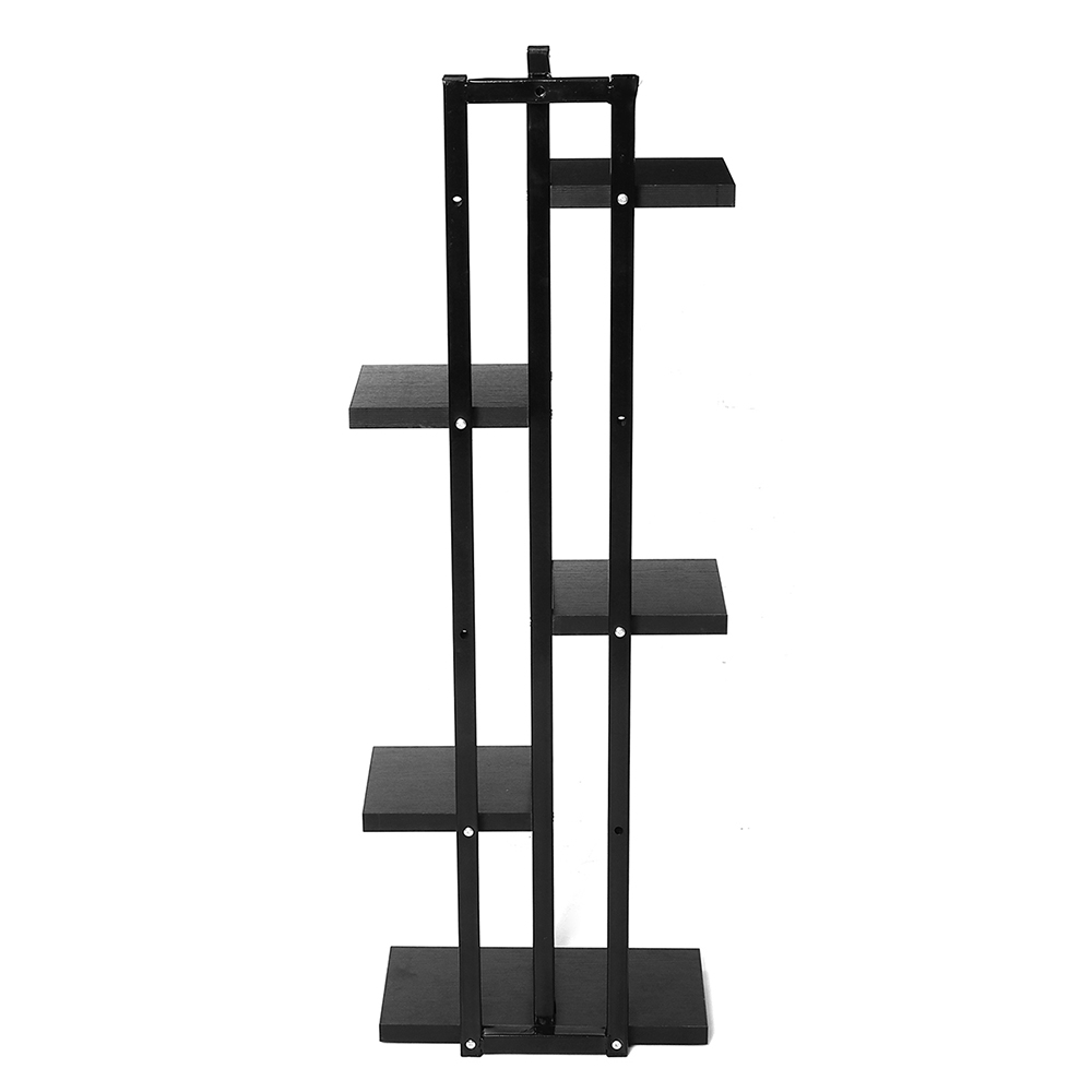 Modern Style 5 Layers Flower Stand Flower Pots Shelf Steel Black Wood Flowerpot Holder For Balcony Plant Shelf For Living Room