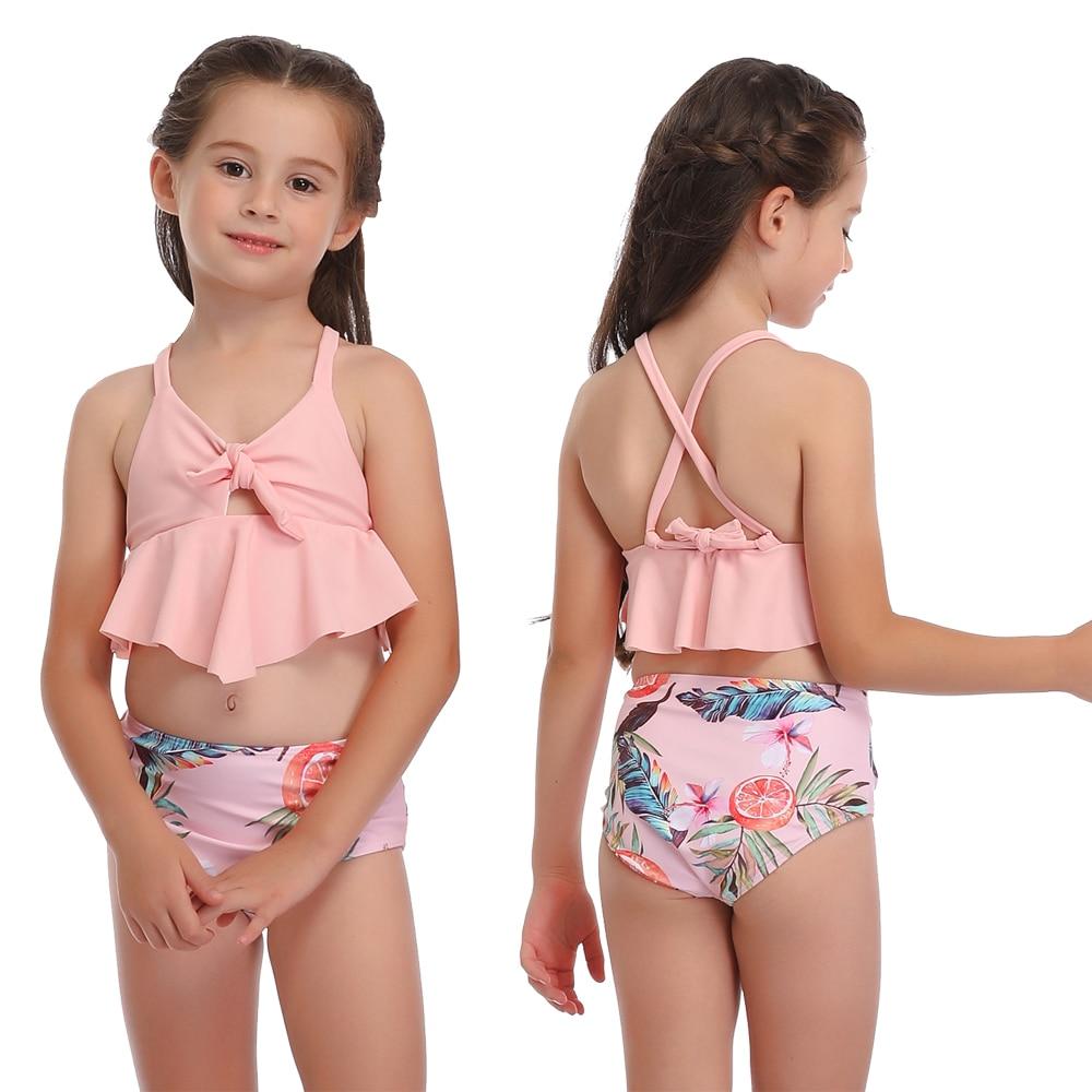 Kids Girls Floral Printed Swimming Swimwear Child Swimsuit Beach Bathing Suit