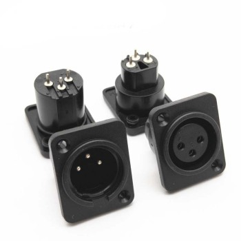100pcs/lot XLR Jack Socket 3 Pin Male/Female XLR Panel Mount Chassis High Quality Plastic XLR Wire Connector