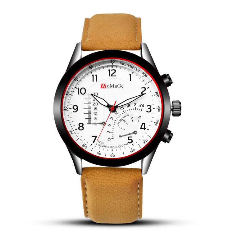 Hot Selling New Style Womage Woma Lattice 8152 Men Waterproof Belt Watch Casual Business Unisex Leather Watch