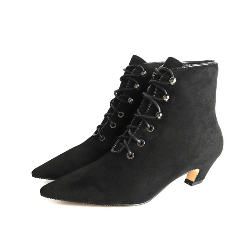 SWYIVY New Ladies Shoes Flock/Leather Booties Autumn And Winter Fashion Sexy Lace-Up Pointed Toe Low Heels Boots Women Pumps