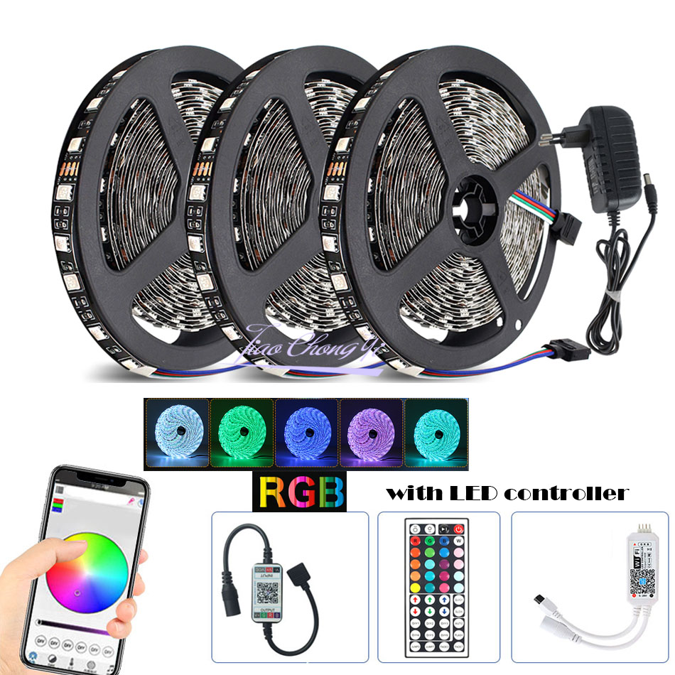 DC12V/5V Black PCB LED strip 5050 RGB Flexible Led Light Tape + WIFI IR LED controller+12V 3A 6A 8A LED power DIY kit image