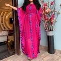 Nova moda listrado vestido de festa 2020 elegante plus size chiffon longo casual translúcido solto vestido robe africaine femme outono