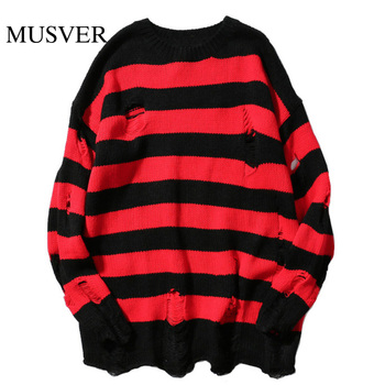Harajuku Japanese Style Ripped Stripe Hole Loose Sweaters Fashion Casual Cotton Pullover Streetwear Hip Hop Long Sweater